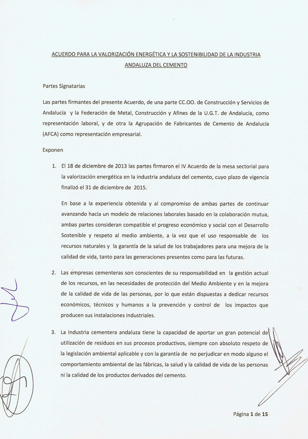 Acuerdo institucional sobre la valorización
